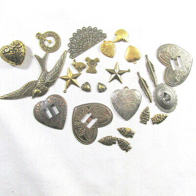 24 Hearts Conchos Assorted Metal Shapes Embellishments Crafts Scrapbooking Pages