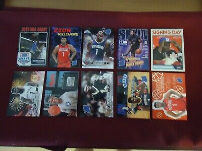 Zion Williamson Lot of 10 Diff New Orleans Pelicans # 1 Draft Pick Rookies 2019