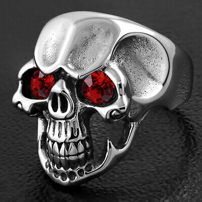Stainless Steel 2 Color Vintage Gothic Grinning Ghost Skull Biker Ring with Light Siam Red CZ