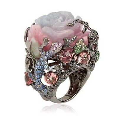 Unique 925 Silver Floral Cocktail Ring Turkish Flower Women Wedding Jewelry 6-10