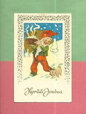 ELF HOLDS PUDDING, PIG On Colorful Vintage CHRISTMAS Postcard From FINLAND