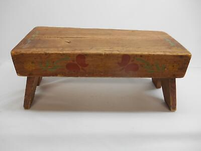 Antique Primitive WOOD STEP STOOL Garden Bench Milking Seat Hand-Painted Old Vtg