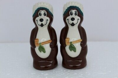 2001 Hamms Beer Indian Chief BROWN Bears Salt and Pepper Set - Made by Wade