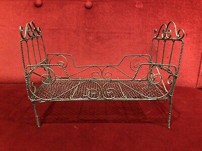Antique Victorian c.19100 French Folding Miniature Wiggle Wire Metal Doll Bed