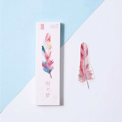 Feather Bookmark 30 Pcs/lot Colorful  Paper Clips Page Marker Reading Gift