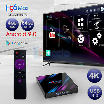 Android 9.0 Quad Core 4G+32G WiFi Smart TV Box H96 Max 3318 HDR 4K Media Player
