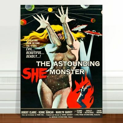 "Vintage Sci-fi Movie Poster Art ~ CANVAS PRINT 36x24"" Astounding She Monster"