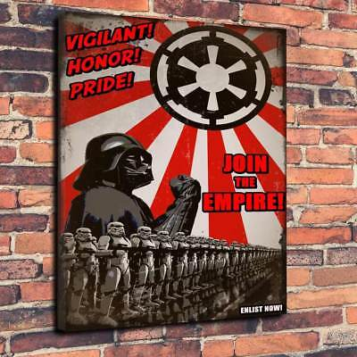 "Star Wars Propaganda Printed Canvas Picture A1.30""x20"" 30mm Deep Join The Empire"