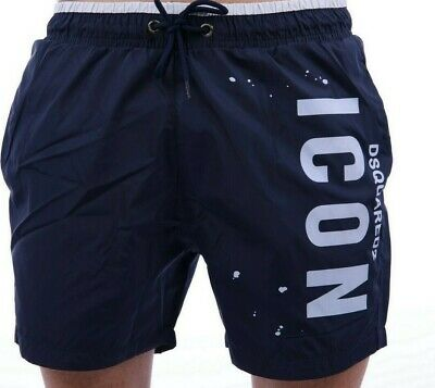 890118d1a9 Dsquared2 Swimming Shorts Trunks Navy Icon Letter Logo Pockets On Size M New