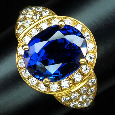 Aaa Kashmir Blue Sapphire 5.70 Ct. 925 Silver Sterling Gold Jewelry Ring Sz 10.5