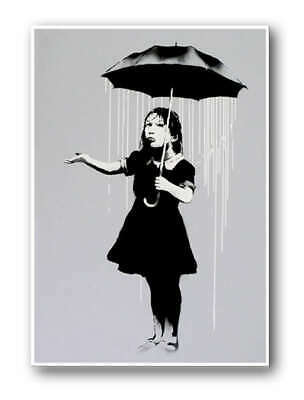 "BANKSY NOLA Girl Umbrella Raining New Orleans XL CANVAS PRINT 24""X 36"" poster"