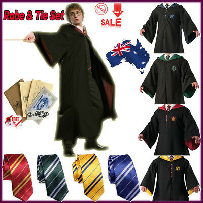 Harry Potter Adult Kids Robe Costume Cosplay Gryffindor Slytherin Scarf LED Wand