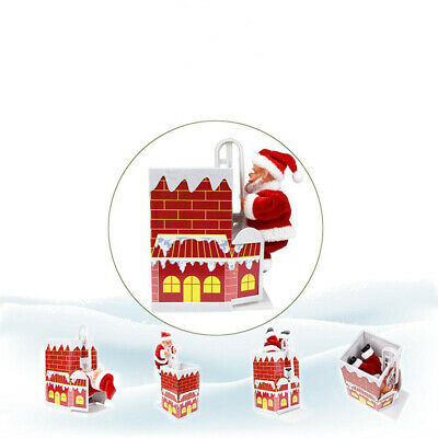 Electric Musical Toy Santa Claus Climbing Chimney Infants Doll Xmas Gifts BS