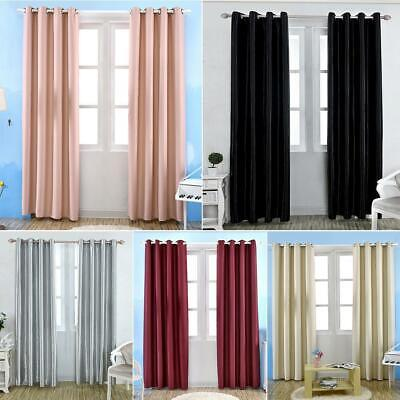 Panel Thermal Blackout Curtains Ready Made Eyelet Curtain Window Door Kids Room