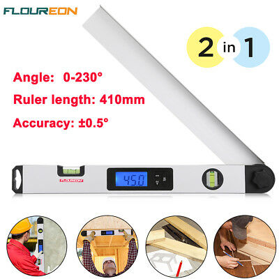 0-230° Digital Angle Finder Meter Protractor Goniometer Electronic Ruler 410mm