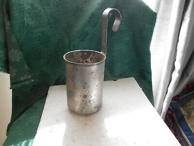 Vintage  1958 Farmhouse Galvanised QUART Lead Stamp Elizabeth Reign Milk Ladle