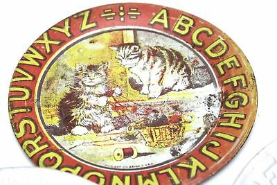 Vintage Early OHIO ART Tin Litho ABC CAT PLATE Alphabet + Tin ABCS Nursery Rhyme