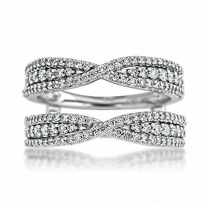 2.85 Ct Round Cut 14k White Gold Over Solitaire Enhancer Wrap Engagement Ring