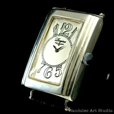 Vintage Men's Wrist Watch LONGINES Art Deco Sterling Silver Mens Wristwatch