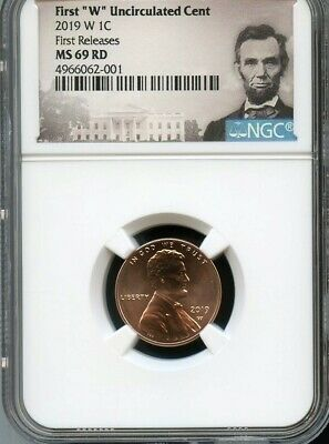 """2019 W First """"W"""" Uncirculated Cent First Releases NGC MS69 RD Portrait Label"""