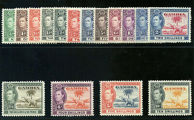Gambia 1938 KGVI set complete superb MNH. SG 150-161. Sc 132-143.
