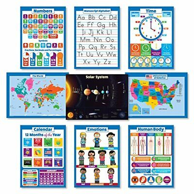 9 LAMINATED Educational Wall Posters For Kids - ABC - Alphabet, Solar System,...