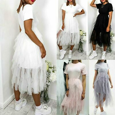 Women's Ladies Mesh Frill Ruffle Tulle Tiers Summer Party T-Shirt Midi Dress Top