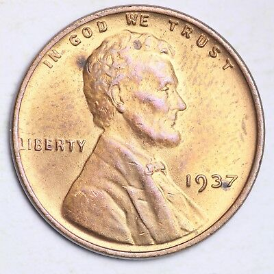 1937 Lincoln Wheat Small Cent CHOICE BU FREE SHIPPING E205 T