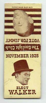 JIMMY WALKER New York City ~ 1925 Mayoral Campaign Matchbook ~ FREE SHIPPING