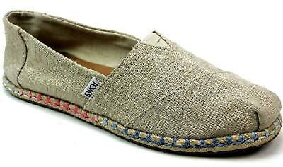Womens Toms Classic Rope Sole Beige Canvas Slip On Flats Pumps Shoes Uk Size 7