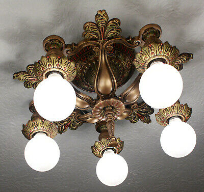 RARE 20's ART DECO Antique Victorian Ceiling Light CHANDELIER