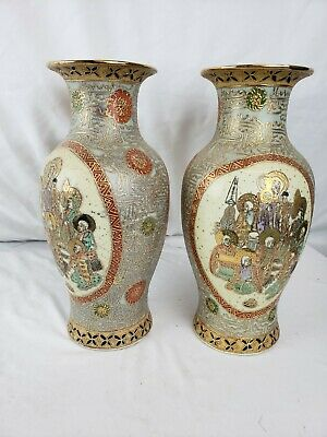 """Great pair of vintage / antique japanese Satsuma vases, signed, 12"""""""