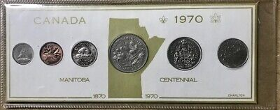 CANADA - (6) Coin Year Set - 1970 - with Manitoba Dollar - Display Card