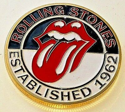 Rolling Stones Gold Coin Red Lips & Tongue Mick Jagger Est. 1962 Rock n Roll UK