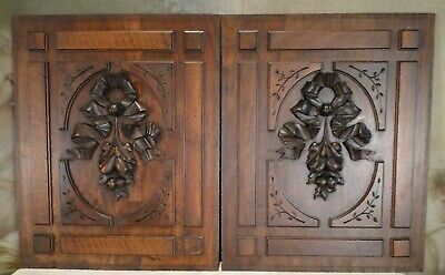 HAND CARVED WOOD PANEL ANTIQUE FRENCH Mahogany SALVAGED CARVING Rare