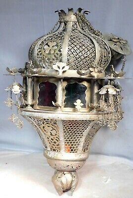 Vintage Stained Glass Pierced Brass ORNATE Mosque lamp Islamic Light Mihrab