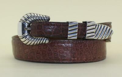 VTG VOGT MEXICO STERLING SILVER 4pc BELT BUCKLE SET BROWN ALLIGATOR Sz38 BELT