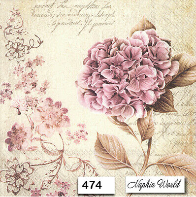 (474) TWO Individual Paper Luncheon Decoupage Napkins - VINTAGE HYDRANGEA PINK
