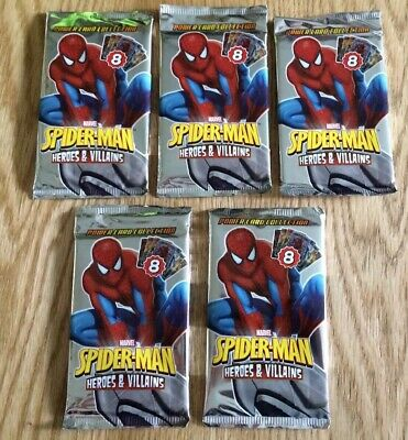 5 Packs New Sealed Marvel Spiderman Heroes Villains Power Card Collection (2013)