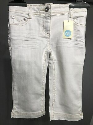 NEW MINI BODEN Girl CLAM DIGGER White Short Pants Size 8 Adjustable waist