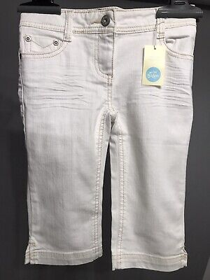 NEW MINI BODEN Girl CLAM DIGGER White Short Pants Size 7 Adjustable waist