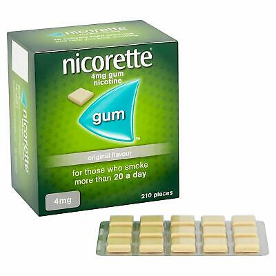 Nicorette Original Flavour Sugar-Free Gum 4mg Nicotine 210 Pieces Long Expiry