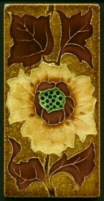 TH3634 Floral (Arts & Crafts Style) Majolica 3x6 Earth Tones Tile George Marsden
