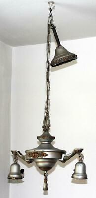 Antique Art Nouveau Metal Chandelier Ceiling Fixture #2