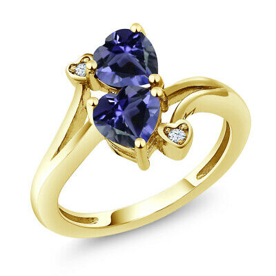 1.19 Ct Heart Shape Blue Iolite 10K Yellow Gold Ring