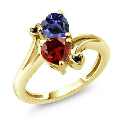 1.51 Ct Heart Shape Red Garnet Blue Iolite 10K Yellow Gold Ring