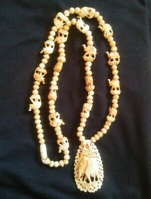 Vintage Hand Carved Bovine Bone Necklace Elephant Pendant and Charms