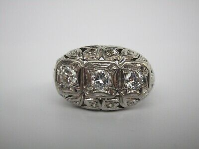 Large 14K White Gold Ring Ornate Old Diamonds Cocktail Vintage Wearable Art