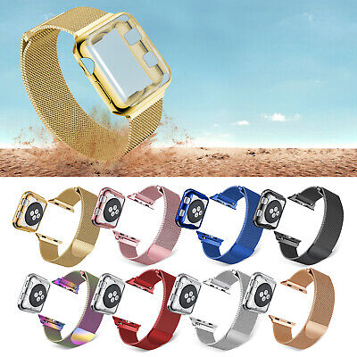 Milanese Loop Magnetic Wristband Plated Case For Apple Watch 4 3 2 38/40/42/44mm