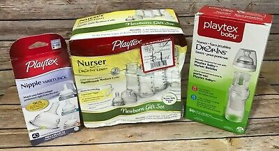 Playtex Baby Lot Bottles Drop In Liners Silicone Nipples 4 Ounce 8 Ounce New